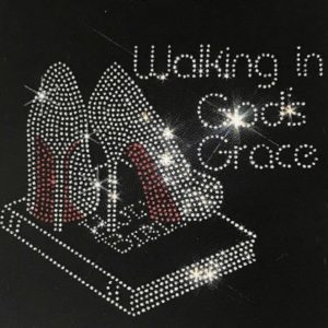 WALKING IN GODS GRACE RHINESTONE TEE SHIRT